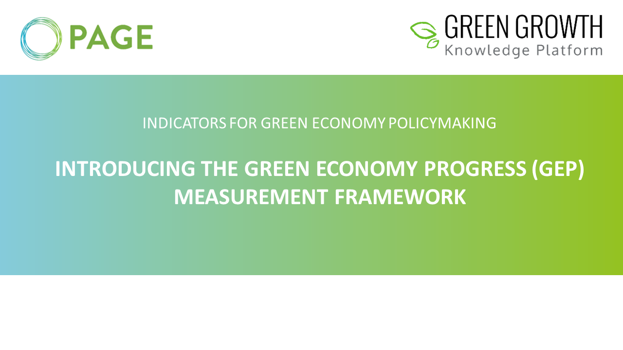 Introducing the Green Economy Progress Measurement Framework Cover Photo