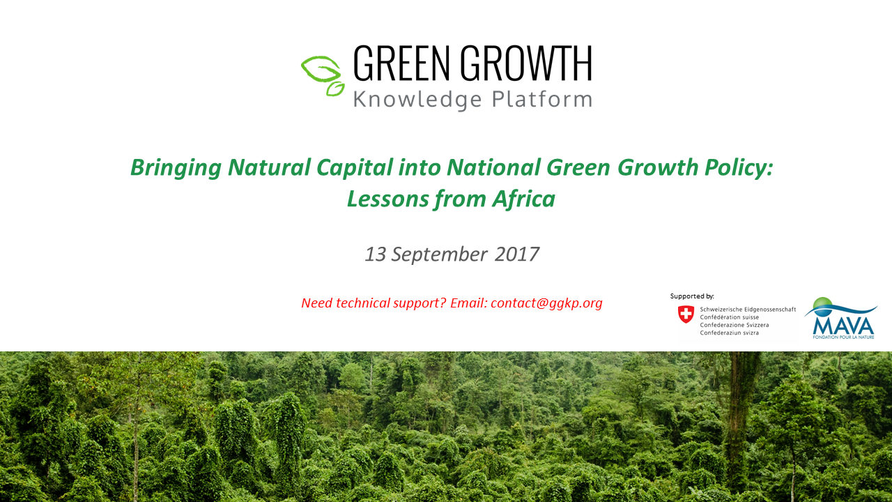 Bringing Natural Capital into National Green Growth Policy: Lessons from Africa